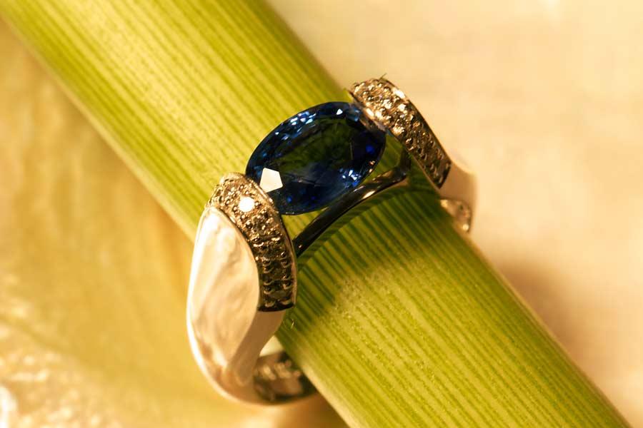 Ceylon Sapphire and Diamond Ring in 14K